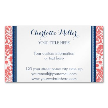 Professional Business Coral Blue Damask Magnetic Business Card