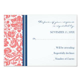 Coral Blue Damask RSVP Wedding Card
