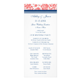 Coral Blue Damask Wedding Program