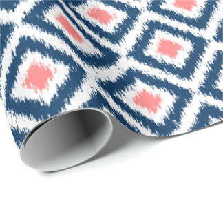 Coral Blue Diamonds Ikat Pattern Wrapping Paper