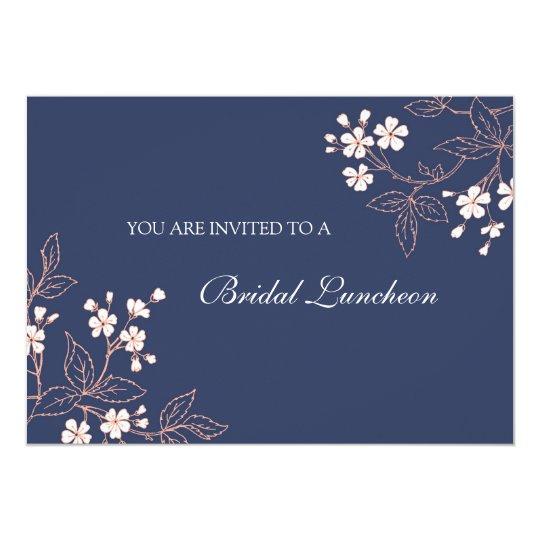 coral blue floral bridal lunch invitation cards  zazzle