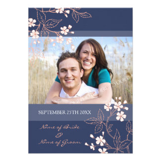 Coral Blue Floral Photo Wedding Invitation Cards