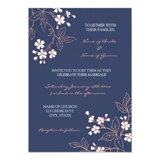 Coral Blue Floral Photo Wedding Invitation Cards Zazzle
