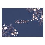 Coral Blue Floral RSVP Wedding Card
