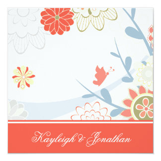 Coral Blue Green Floral Save The Date Card