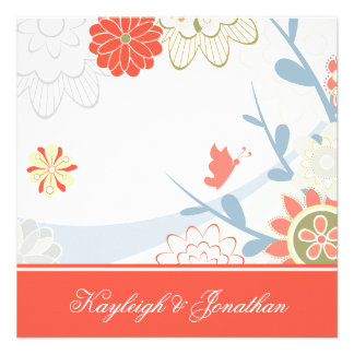 Coral Blue Green Floral Save The Date Personalized Announcement