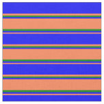 [ Thumbnail: Coral, Blue & Green Striped Pattern Fabric ]