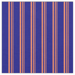 [ Thumbnail: Coral & Blue Lines Fabric ]