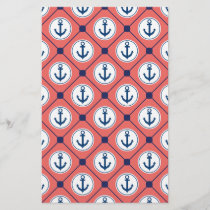 Coral Blue Nautical Anchor Pattern