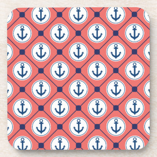 Coral Blue Nautical Anchor Pattern Drink Coaster