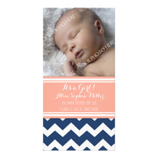 Coral Blue Photo New Baby Birth Announcement