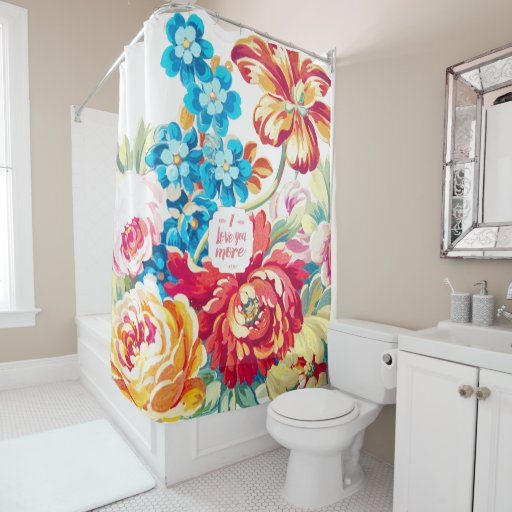Coral Blue Pink Victorian Floral I Love You More Shower Curtain Zazzle