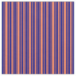 [ Thumbnail: Coral & Blue Stripes Fabric ]
