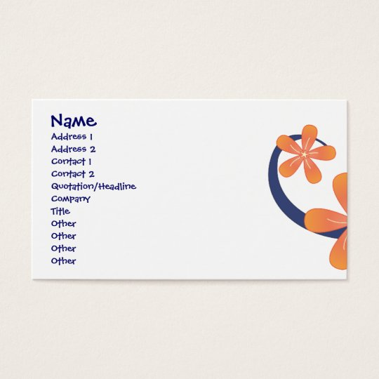 Coral Blue Tropical Design Business Card
