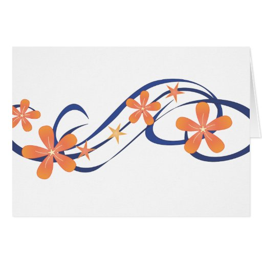Coral Blue Tropical Design Greeting Card