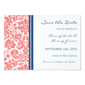 Coral Blue Wedding Save the Date Card