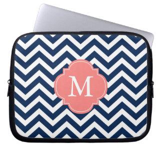 Coral & Blue Zigzags Pattern Monogram Laptop Sleeve