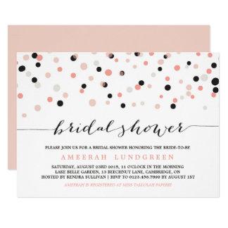 Coral Blush Confetti Dots Bridal Shower Invitation