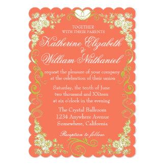 Coral & Blushing Peach| Floral & Damask Elegance Card