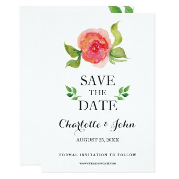 coral boho watercolor floral save the dates card