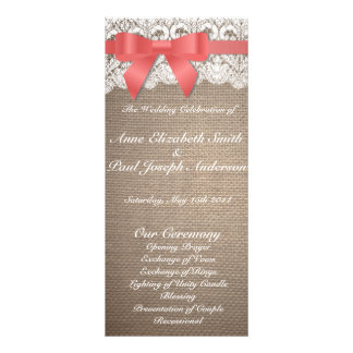 Coral bow burlap and Lace wedding programs