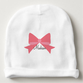Coral Bow Monogram Baby Beanie