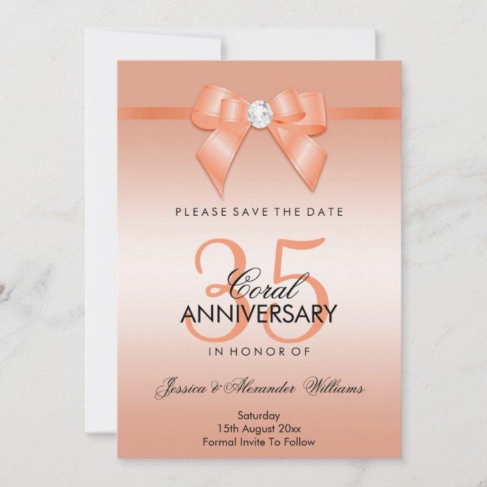 Coral Bow Ribbon 35th Wedding Anniversary Save The Date Zazzle Com