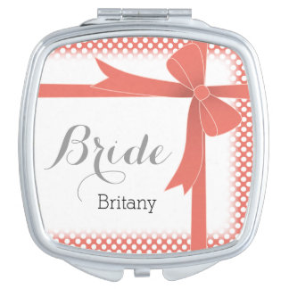 Coral Bow & White Dots Personalized Bride Compact Mirror