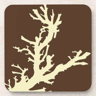 Coral branch - cocoa brown and beige beverage coasters