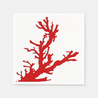 Coral branch - dark coral red and white napkin