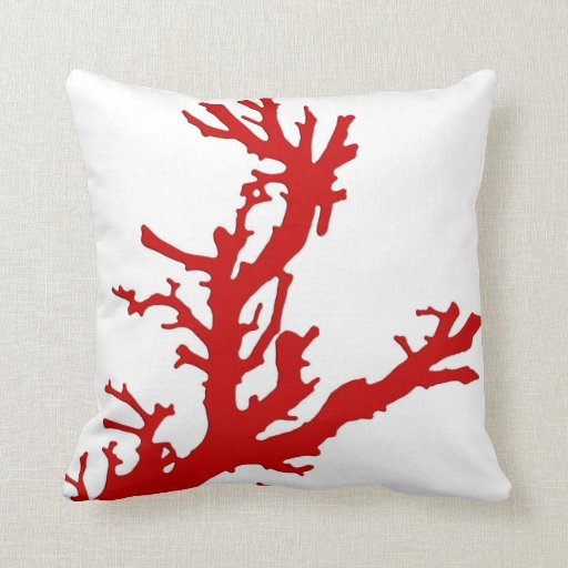 Dark Coral Throw Pillows : Coral branch - dark coral red and white throw pillow Zazzle