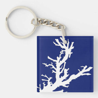 Coral branch - navy blue and white keychain