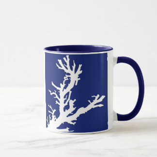 Coral branch - navy blue and white mug