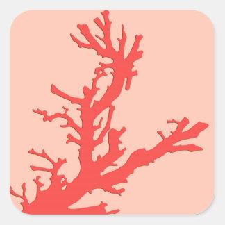 Coral branch - shades of coral orange square sticker