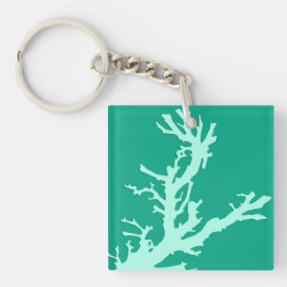 Coral branch - teal and seafoam green Double-Sided square acrylic keychain