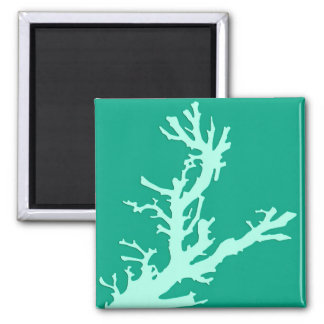 Coral branch - teal and seafoam green magnets