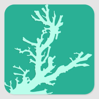 Coral branch - teal and seafoam green square sticker