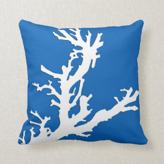 Coral branch - white on cobalt blue throw pillow
