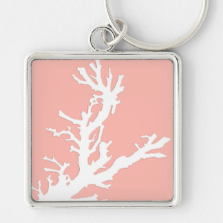 Coral branch - white on coral pink keychain