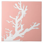 Coral branch - white on coral pink tiles