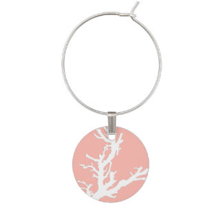 Coral branch - white on coral pink wine glass charm