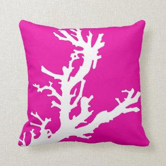 Coral branch - white on fuchsia pink throw pillow