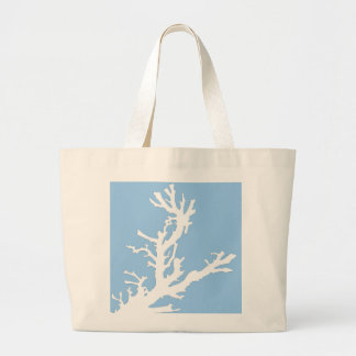 Coral branch - white on pale blue large tote bag