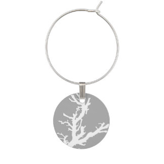 Coral branch - white on silver grey wine charm