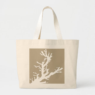 Coral branch - white on taupe tan large tote bag