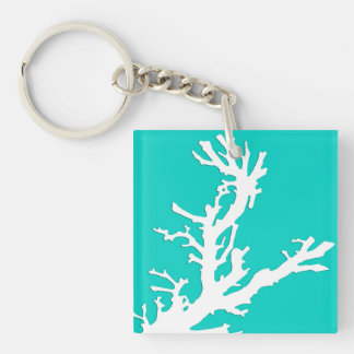 Coral branch - white on turquoise keychain