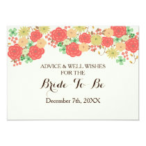 coral bridal shower Advice and Well Wishes Card