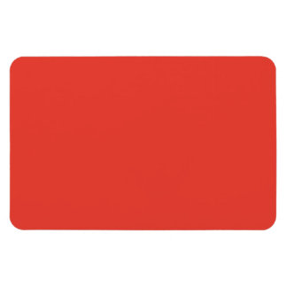Coral Bright Red Orange Solid Color Background Rectangular Photo Magnet