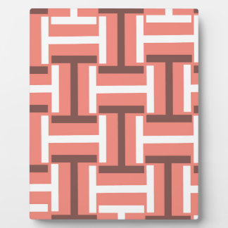 Coral,Brown and White T Weave Plaque