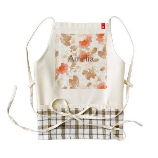coral,brown,beige,rose,pattern,elegant,chic,beauti zazzle HEART apron
